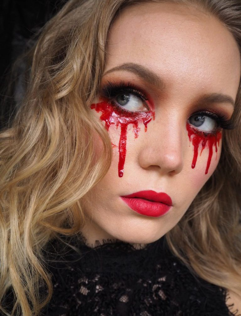 blood tears easy halloween makeup