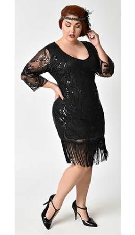 Unique Vintage Plus Size Black Beaded Sequin Margaux Sleeved