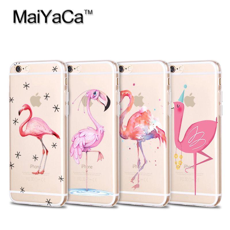 Transparent Soft TPU Silicone Phone Flamingo Cute Animals Birds For iPhone 5s 6s 7 plus case