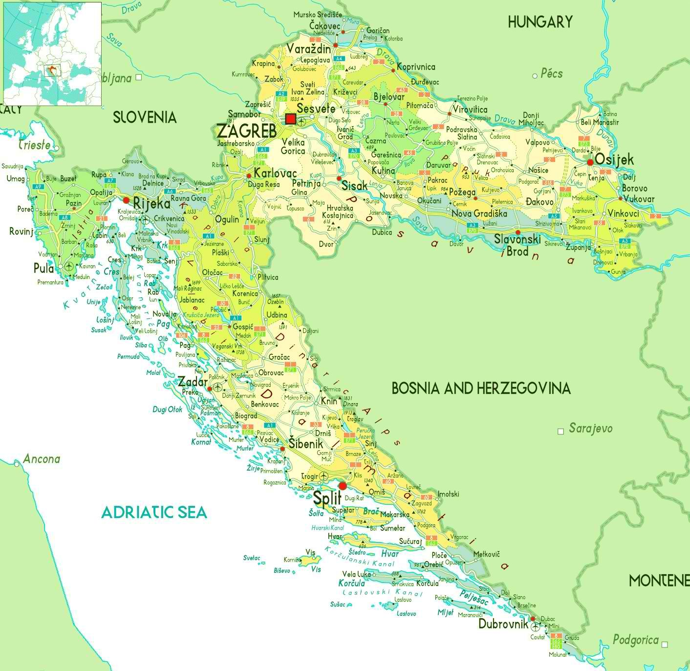 Detailed map of Croatia Wanderlust Pinterest Croatia map City