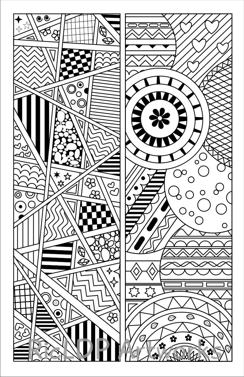 8 Coloring Bookmark Templates Zentangle Coloring Pages