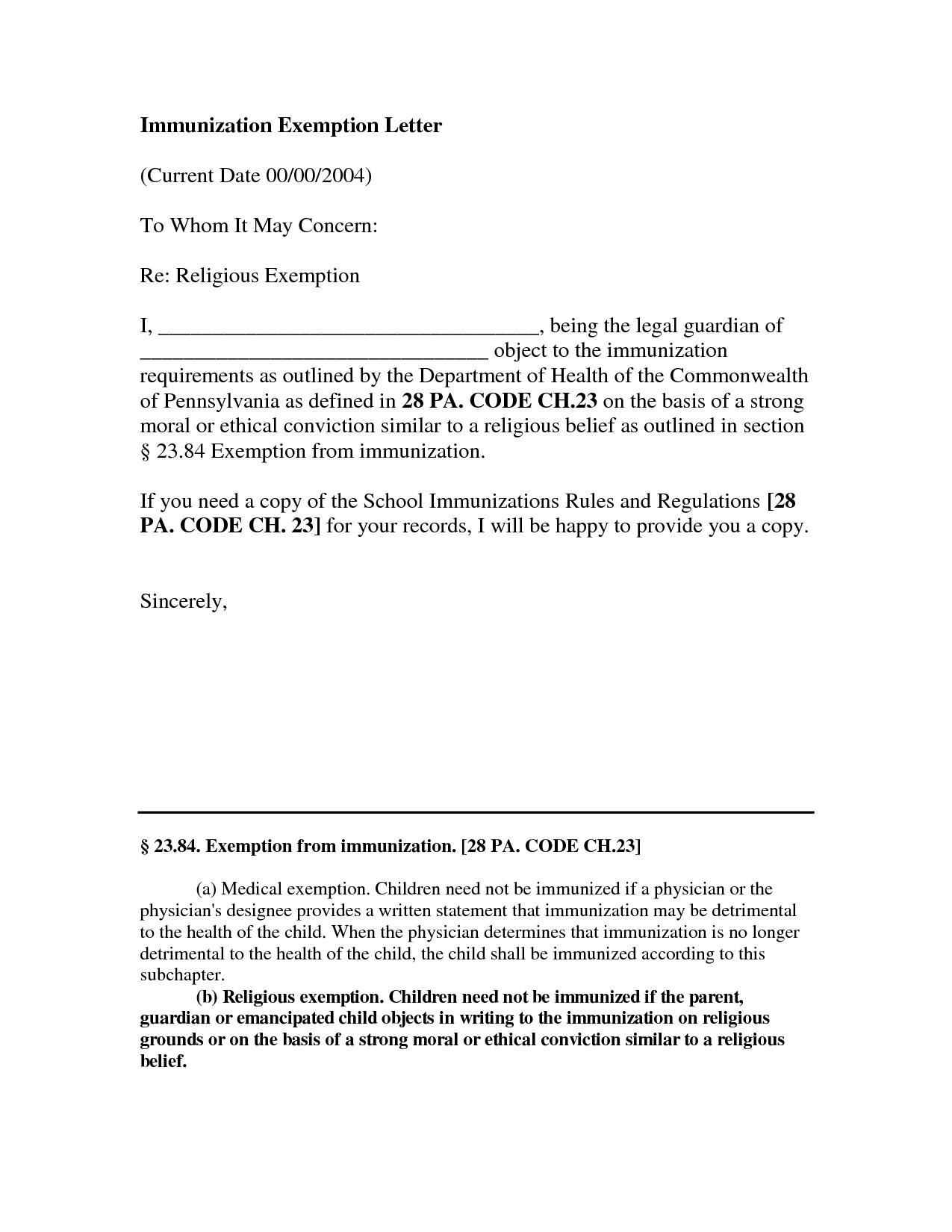 e84828f9317469901f16394d1ef7a688 Vaccination Exemption Letter Template on homestead letter, annulment letter, concession letter, objection letter, claim letter, deferral letter, mandate letter,