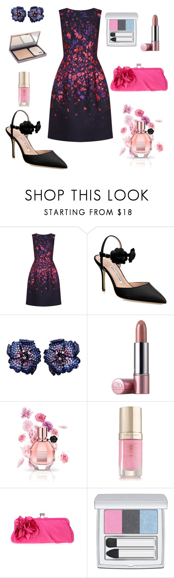 """Untitled #610"" by elizabeth-buttery ❤ liked on Polyvore featuring Oscar de la Renta, Manolo Blahnik, Origins, Viktor & Rolf, Margaret Dabbs, WithChic, RMK and Urban Decay"