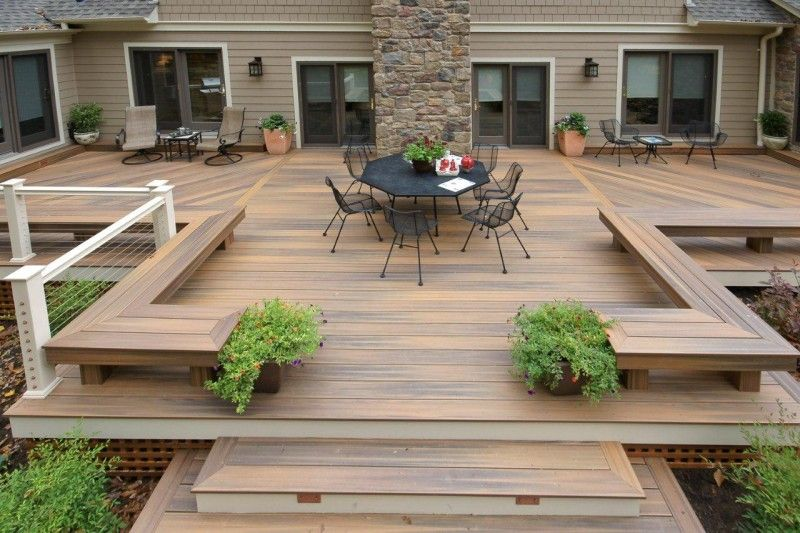 Patio Les Sections Sont Divisées Visuellement Par Le Design Des Planches Backyard Deck Designs