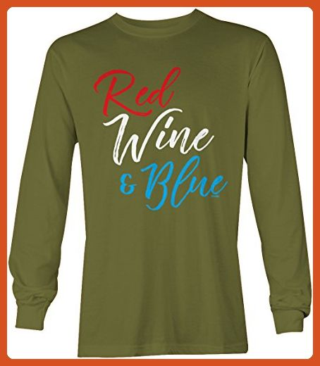 Red Wine & Blue Long Sleeve Men's Shirt (Olive, Small) - Food and drink shirts (*Partner-Link)