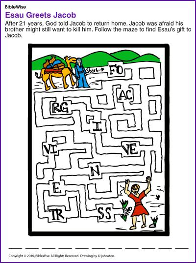 Esau Greets Jacob (Puzzle) - Kids Korner - BibleWise | Sunday School ...