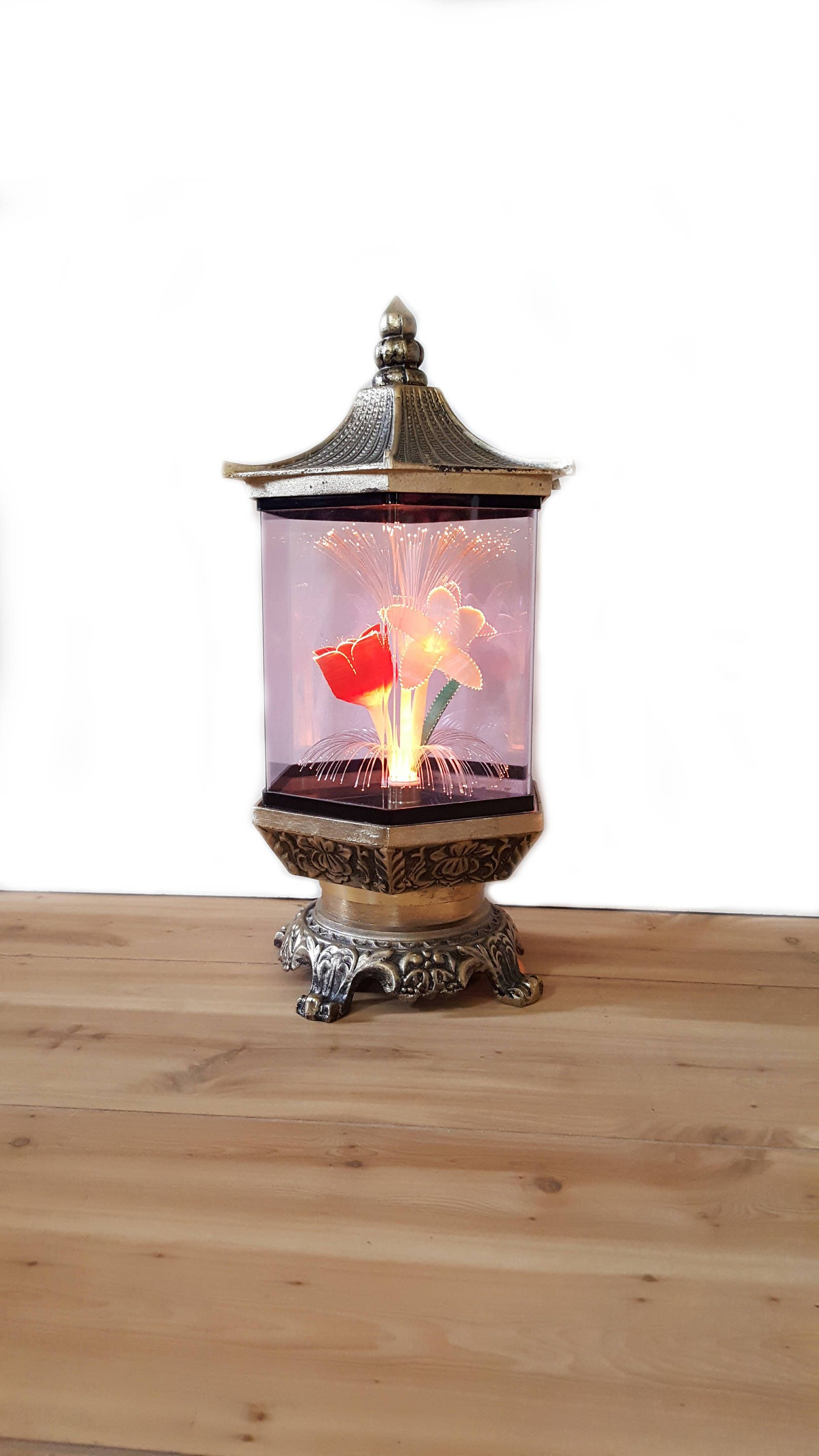 Vintage Motion Lamp Pagoda Rotating Fiber Optic Flower Color Changing Lamp Gold Asian Chinese Metal Pagoda Floor Vase Color Changing Lamp Asian Home Decor
