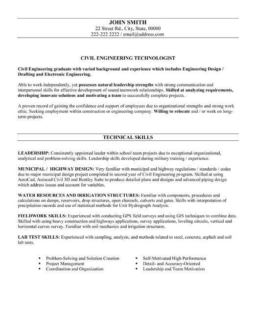 Pin by ResumeTemplates101com on Best Engineering Resume Templates  Samples  Engineering