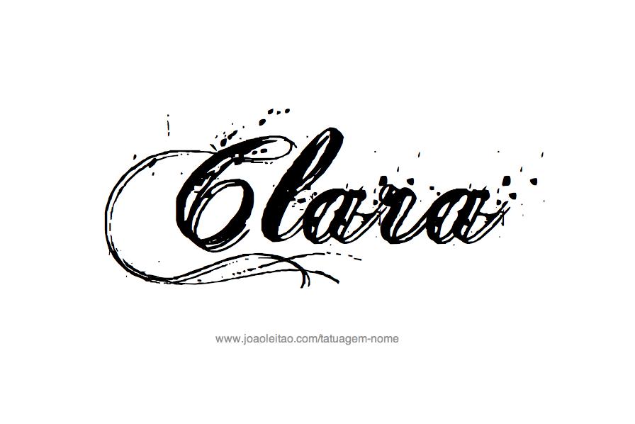 Desenho de Tatuagem com o Nome Clara