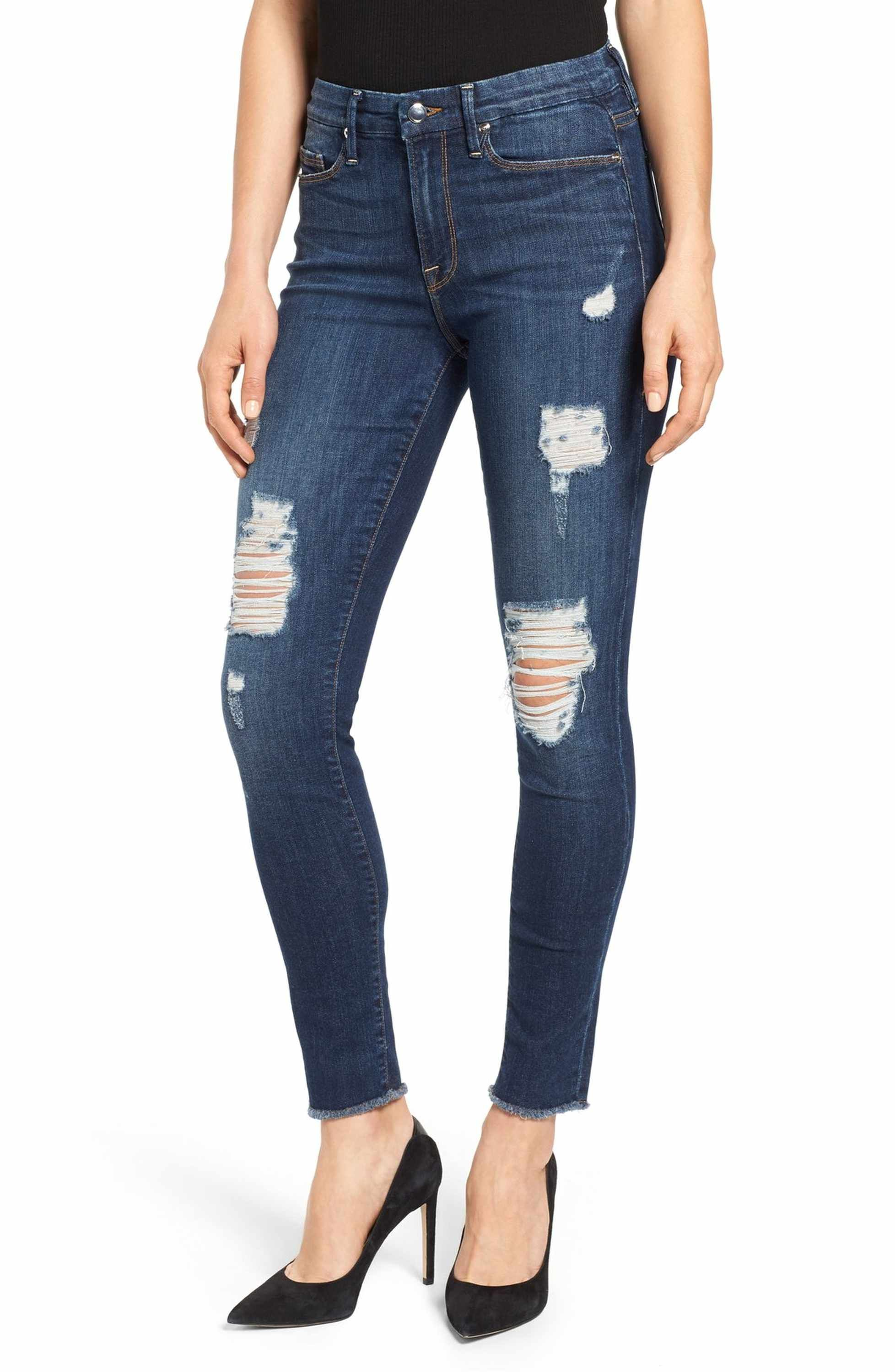 998346e01f3 Main Image - Good American Good Legs High Rise Ripped Skinny Jeans (Blue  003) (Extended Sizes)