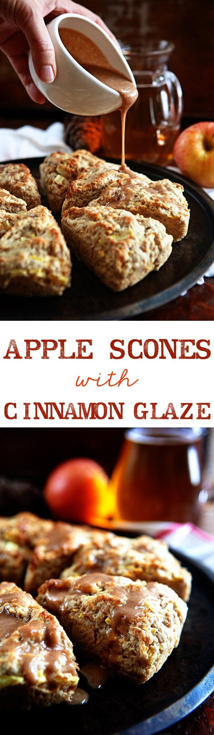 Apple Scones with Apple Cider Cinnamon Glaze from @somethewiser #autumnseason