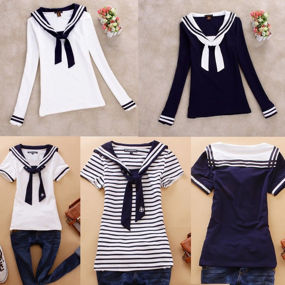 Pure Cotton Japanese School Girl Middy Blouse Sailor T