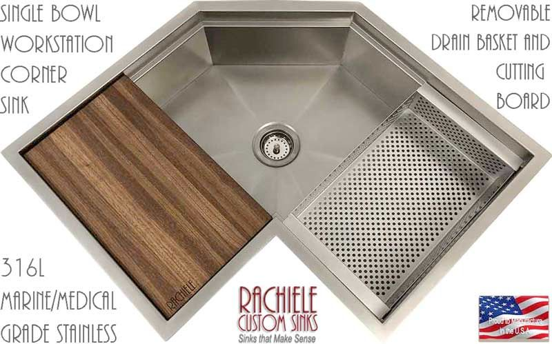 Corner Kitchen Sinks Available In Copper And Stainless Steel
