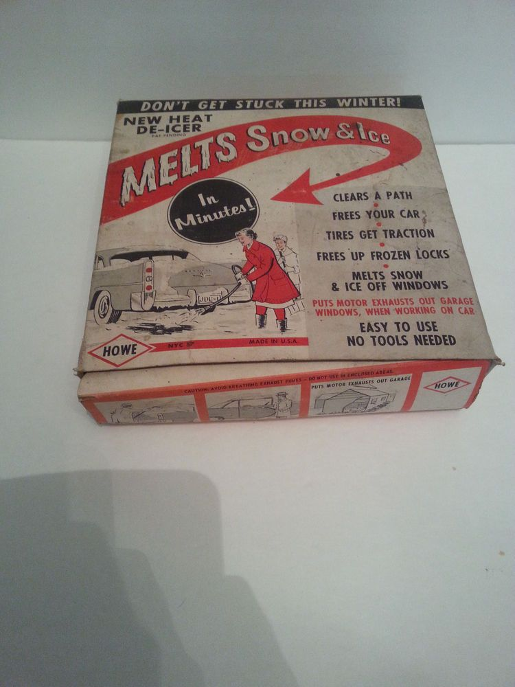 VINTAGE CIRCA 1950'S AUTO-HOWE DE-ICER MELTS SNOW AND ICE