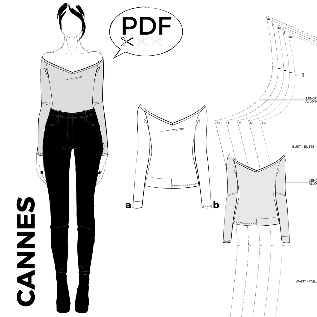 CANNES off the shoulder top - PDF sewing pattern | Patterns ...