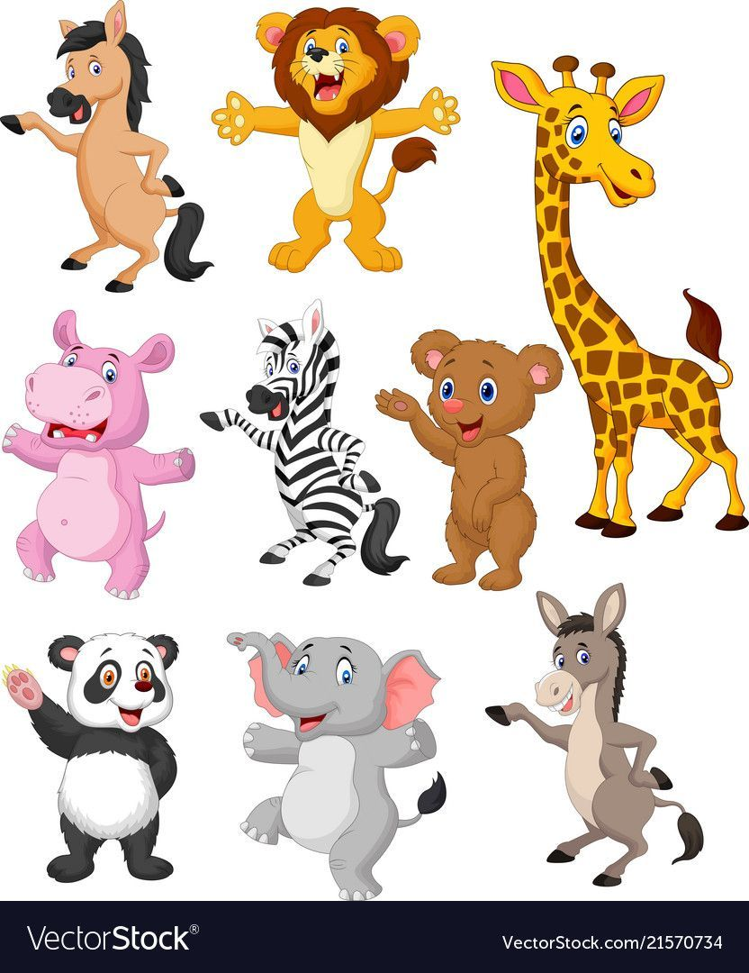 Wild animals cartoon collection set Royalty Free Vector in 2020   Cartoon  animals, Animals wild, Cartoon drawings of animals