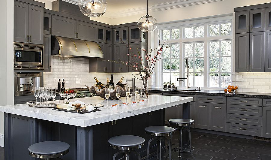 50 Gorgeous Gray Kitchens That Usher In Trendy Refinement Contemporary Kitchen Grey Kitchen Designs Kitchen Trends