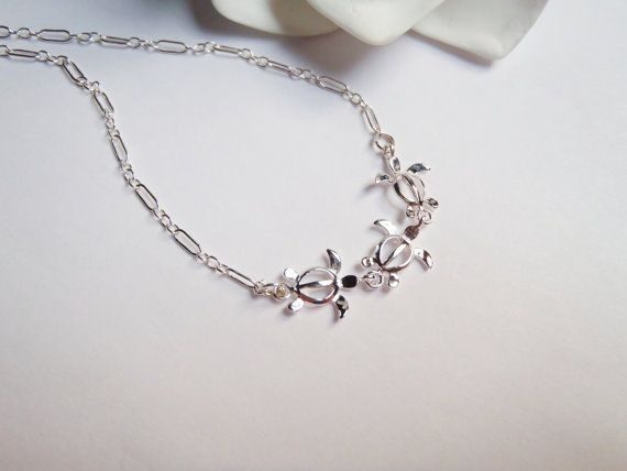 Three Delicate Sterling Silver Hawaiian Turtle Honu Charms Sterling Chain Necklace by Tasha808,