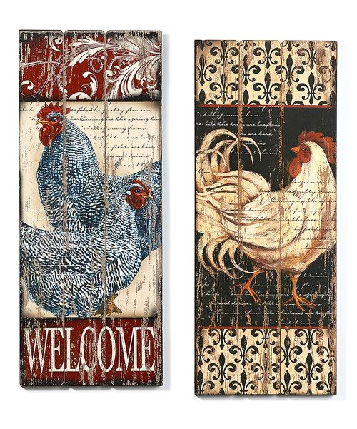 Rooster Wall Decor Set Roosters