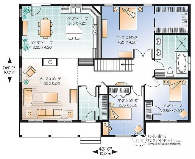 Plan Maison Foyer Central : W v plan de maison d un plain pied chambres