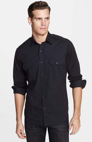 Ralph Lauren Black Label 'Rover' Trim Fit Cotton Shirt available at #Nordstrom
