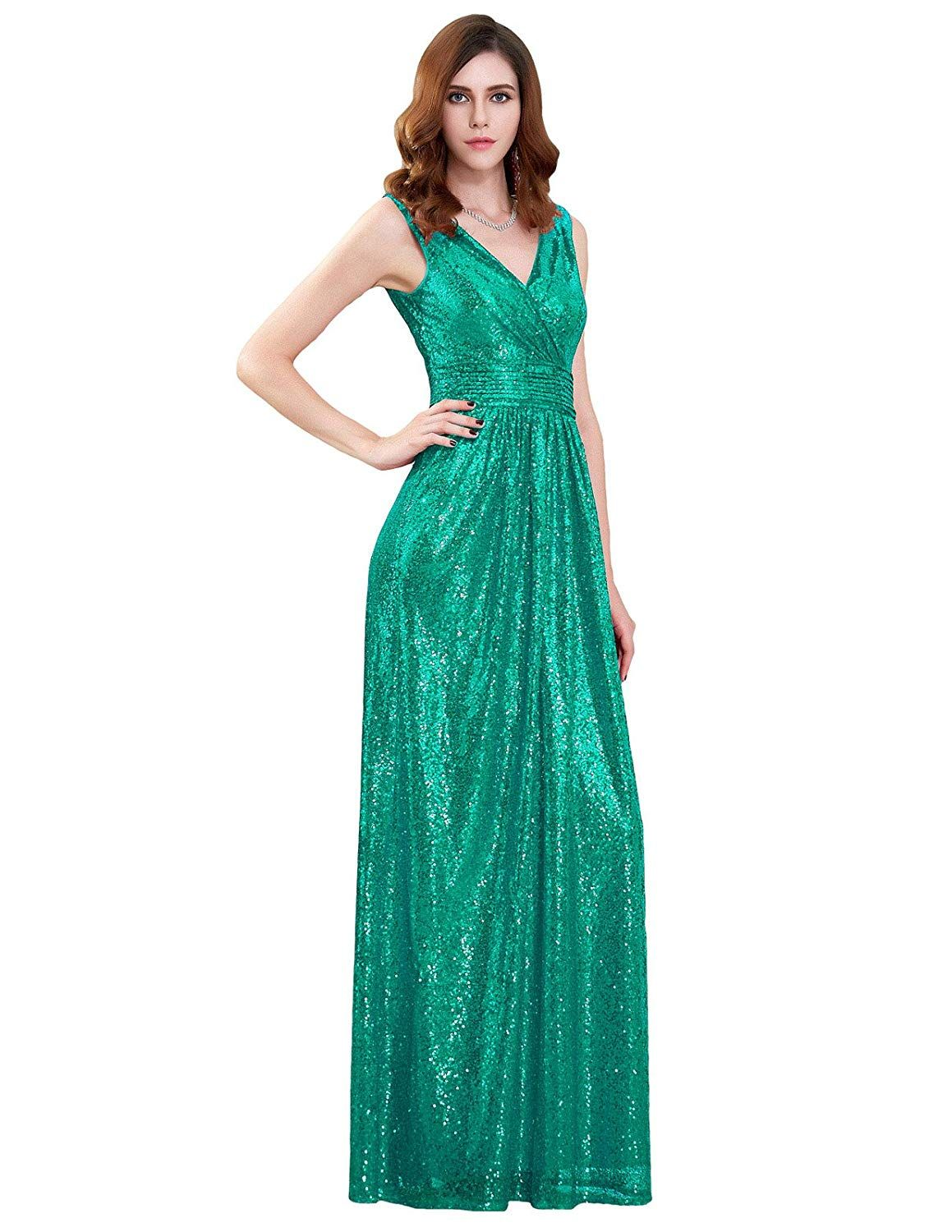 626a9ac7fed0c7 Kate Kasin Deep-V Formal Sequined Dress For Bridesmaid Wedding Party Green  USA8 KK199-