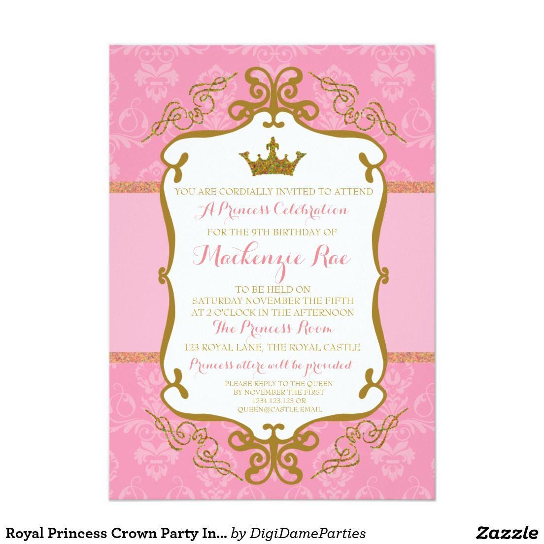 Princesa real Crown Party Invitation Pink y oro Invitación 5\