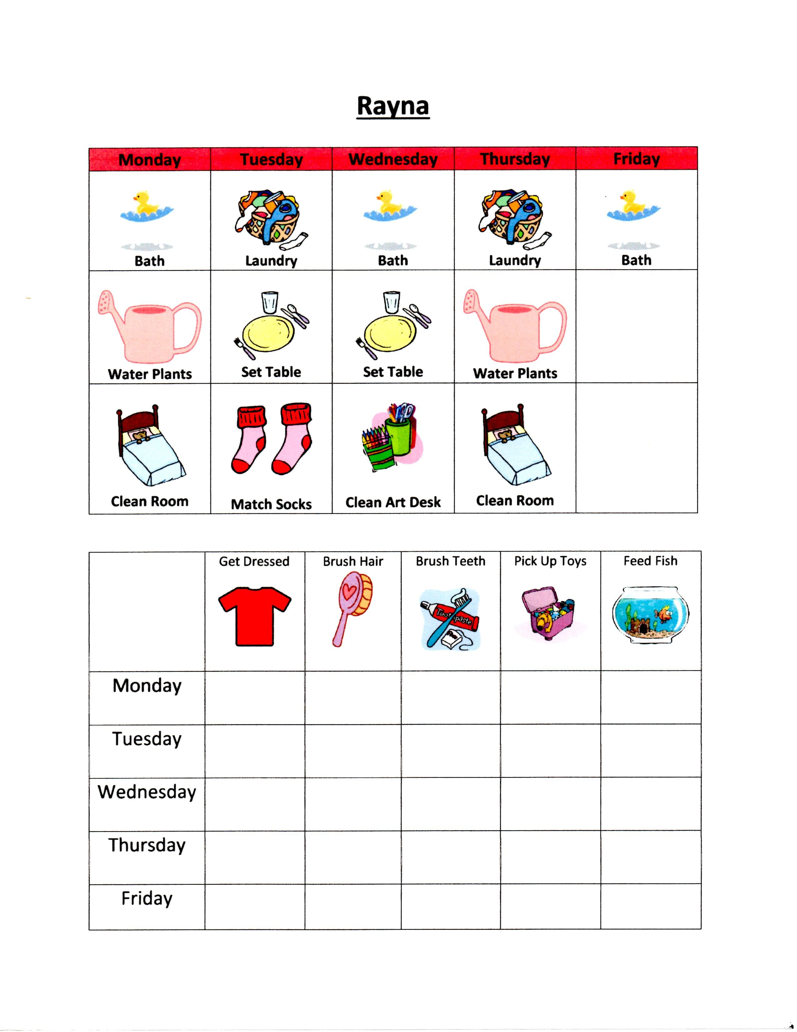 3 Year Old Weekly To Do List And Chore Chart