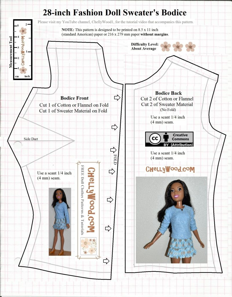 The Image Shows A Free Printable Pattern Available As A Pdf Pattern Or Free Ms Word Pattern Barbie Dress Pattern Barbie Clothes Patterns Sewing Barbie Clothes