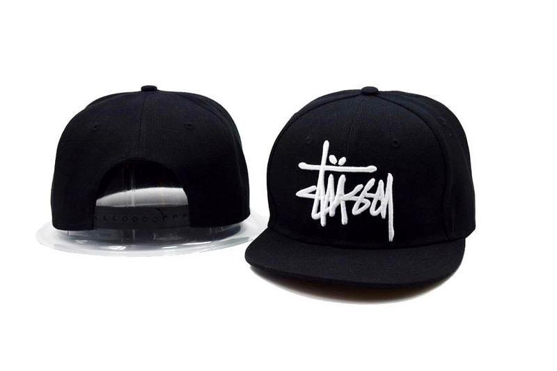 Men's Stussy Big Basic Stock Logo Embroidery Signature Logo OSFA Snapback Hat - Black / White