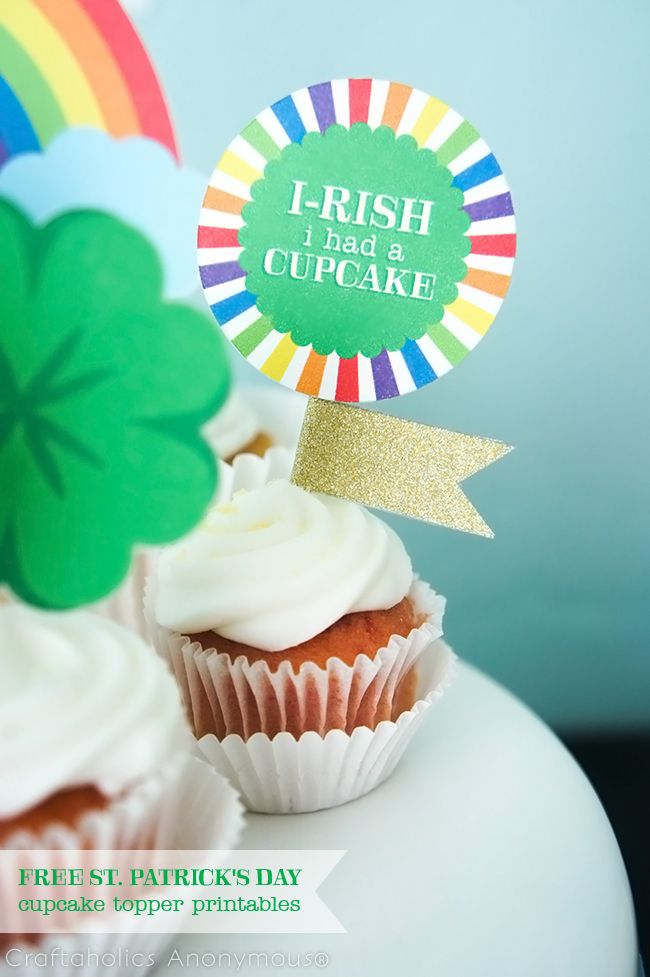 St Patrick\u0027s Day Rainbow Cupcake Toppers Printable PINS I LOVE