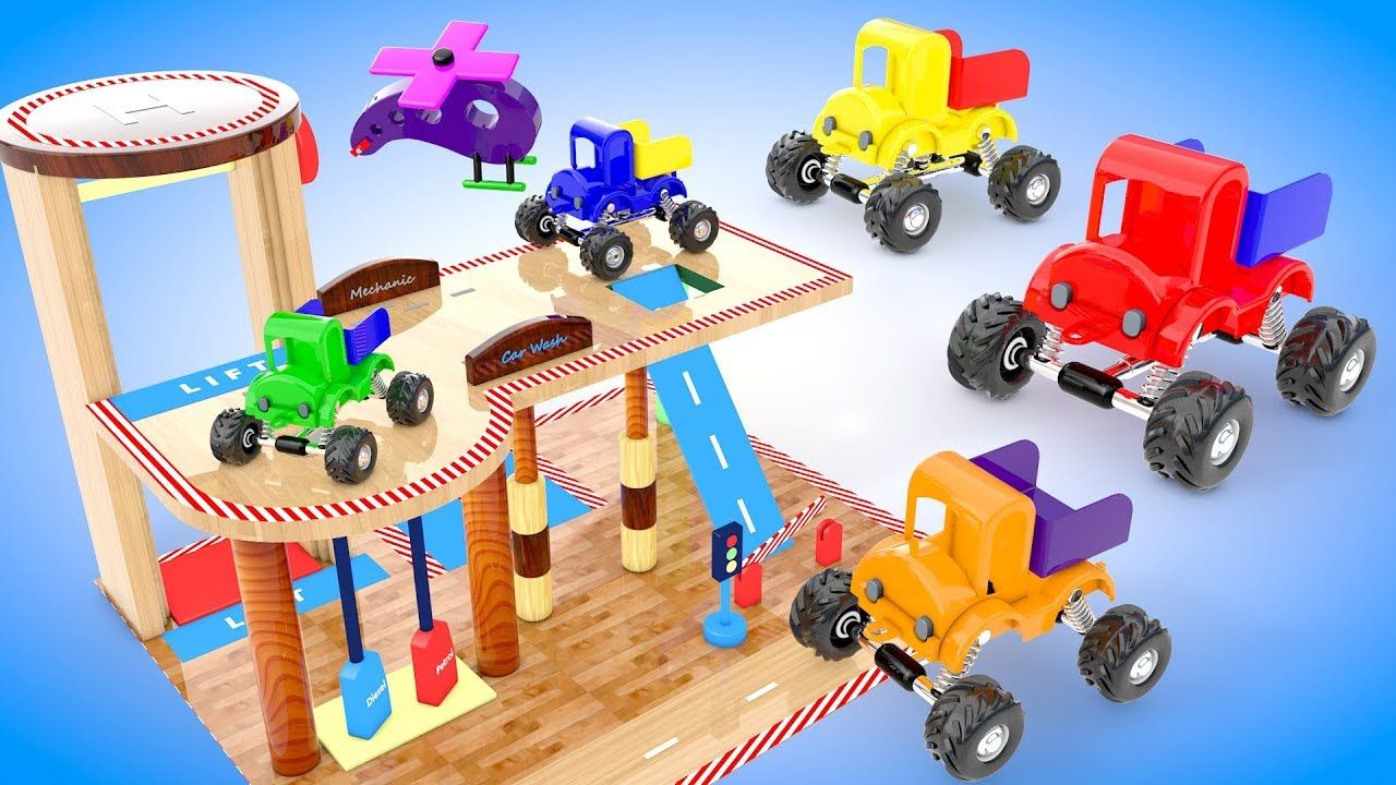Mini jeep car toys  Learn Colors for Children with Wooden Garage Monster Jeep Trucks D