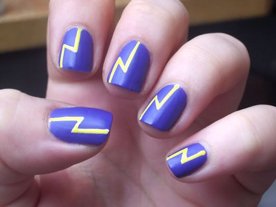 Yellow lightning bolt nail art pictures, photos, and images for.