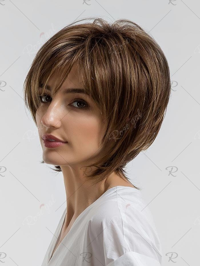 Photo of Short Side Bang Colormix Layered Straight Synthetic Wig