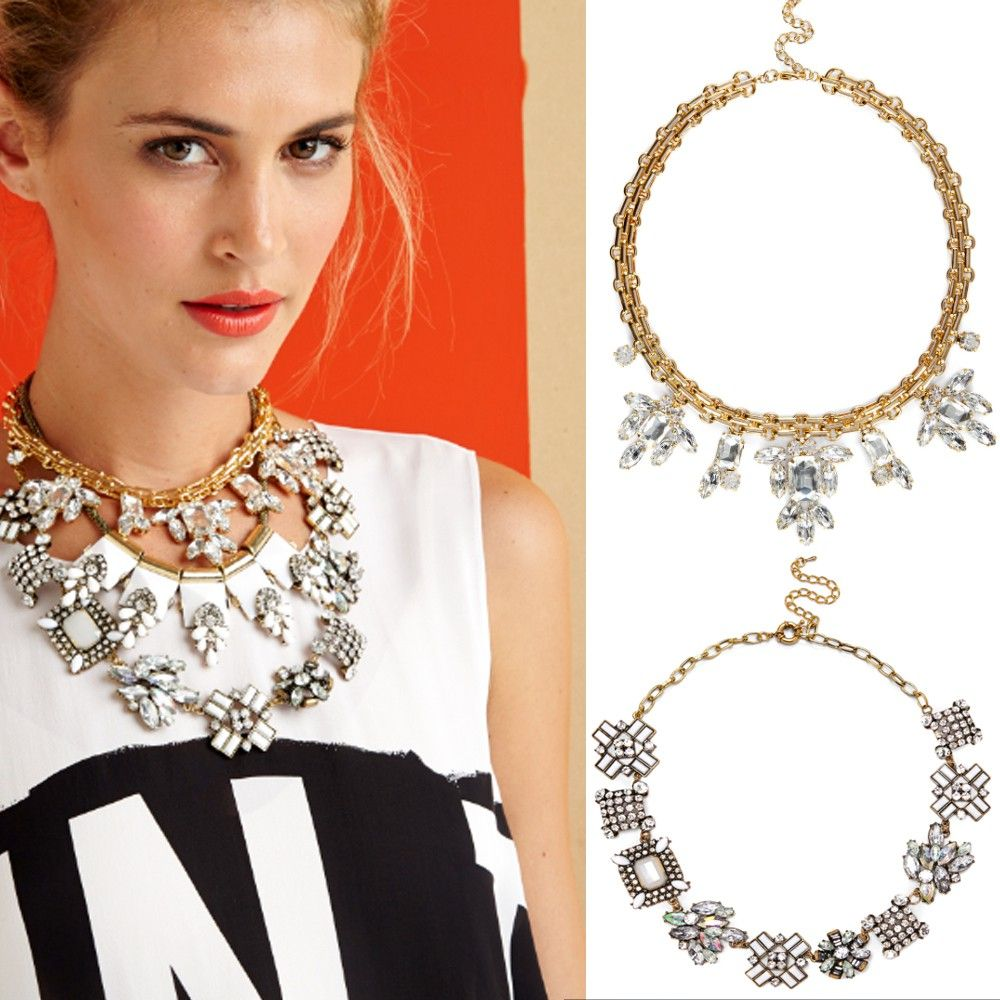 Elegant yet eclectic collar necklace with mixed stones and crystals.