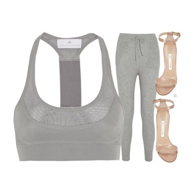 Adidas by Stella McCartney sports bra ($35, on sale via @netaporter), T by alexander Wang ribbed track pants ($460) and Manolo Blahnik heels ($930) xx #Padgram