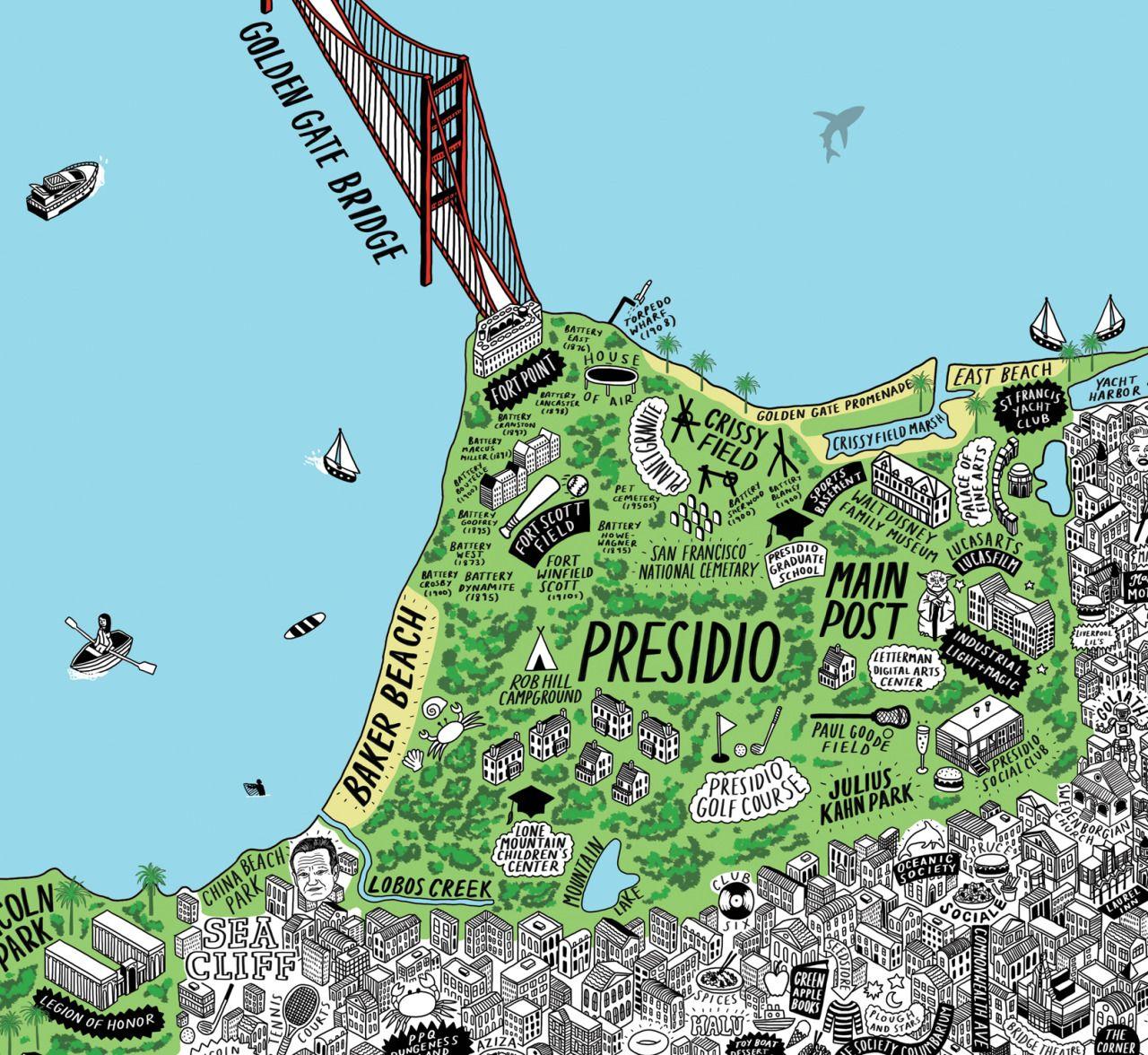 Hand Drawn Map Of Presidio San Francisco Maps Pinterest
