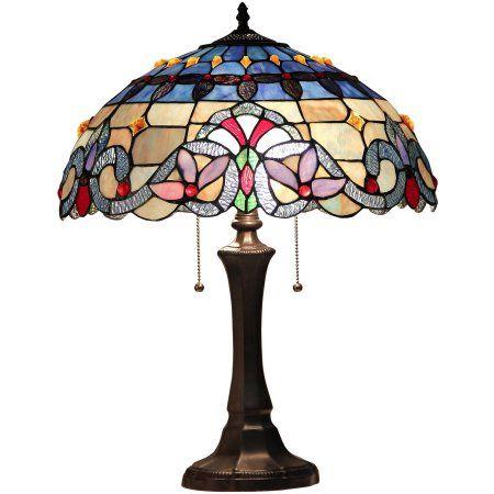 Chloe Lighting Grenville Tiffany Style 2 Light Victorian Table Lamp