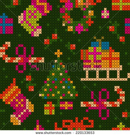 seamless - cheerful christmas cross stitch illustration with sledge, socks, gifts, christmas tree, sweets, wreath - stock photo