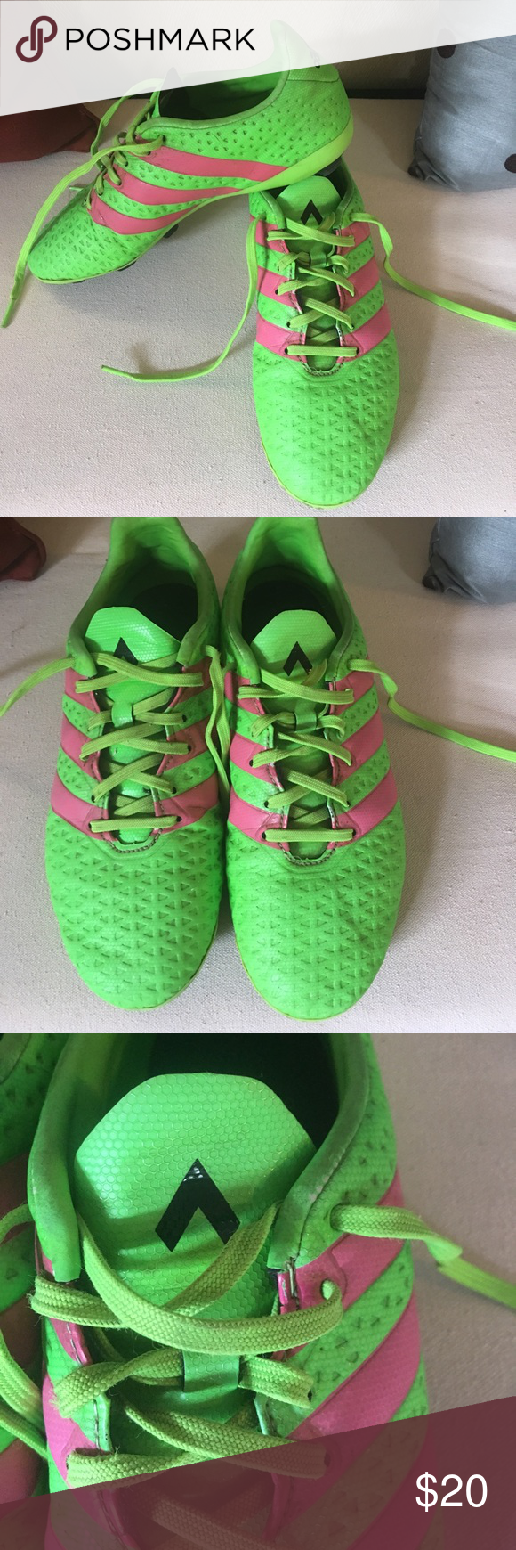 70af6075e1f0 Boys size 5 Adidas soccer cleats Used size 5 Adidas Ace 16.3 soccer cleats. Bright  fluorescent green with hot pick stripes. Only used for one soccer season.  ...