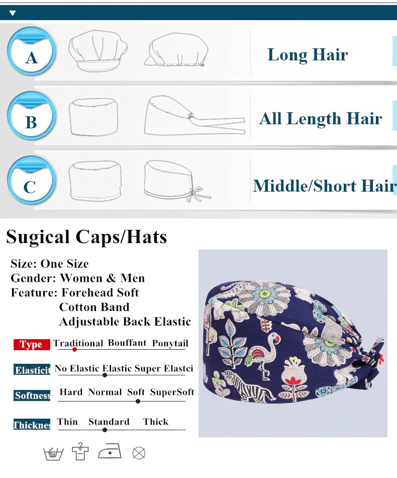 Pixie Scrub Cap Sewing Pattern Surgical Hat Women And Men 100