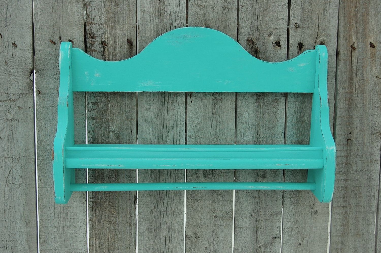 Spice Rack, Towel Bar, Towel Holder, Shabby Chic, Turquoise, Blue ...