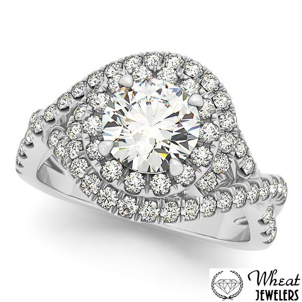 Intertwining Round Halo Engagement Ring available at Wheat Jewelers