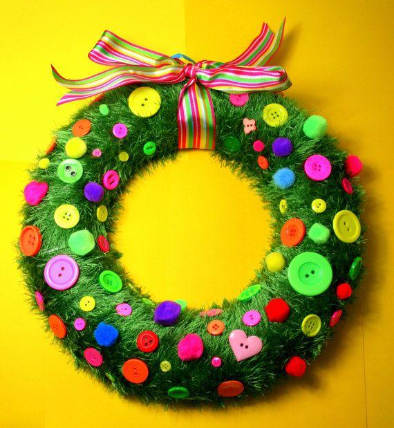 Beautiful Bright Neon Button PomPom Wreath Handmade To Order