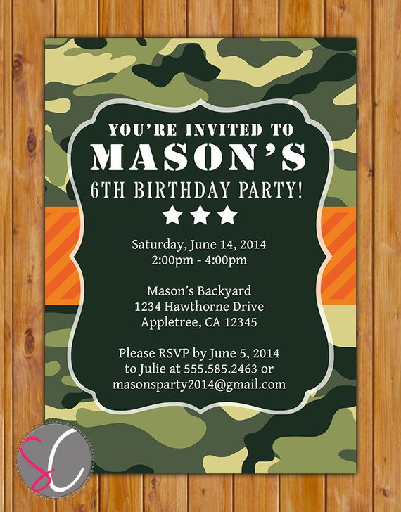 Camo Birthday Party Invitation Orange Green Camouflage