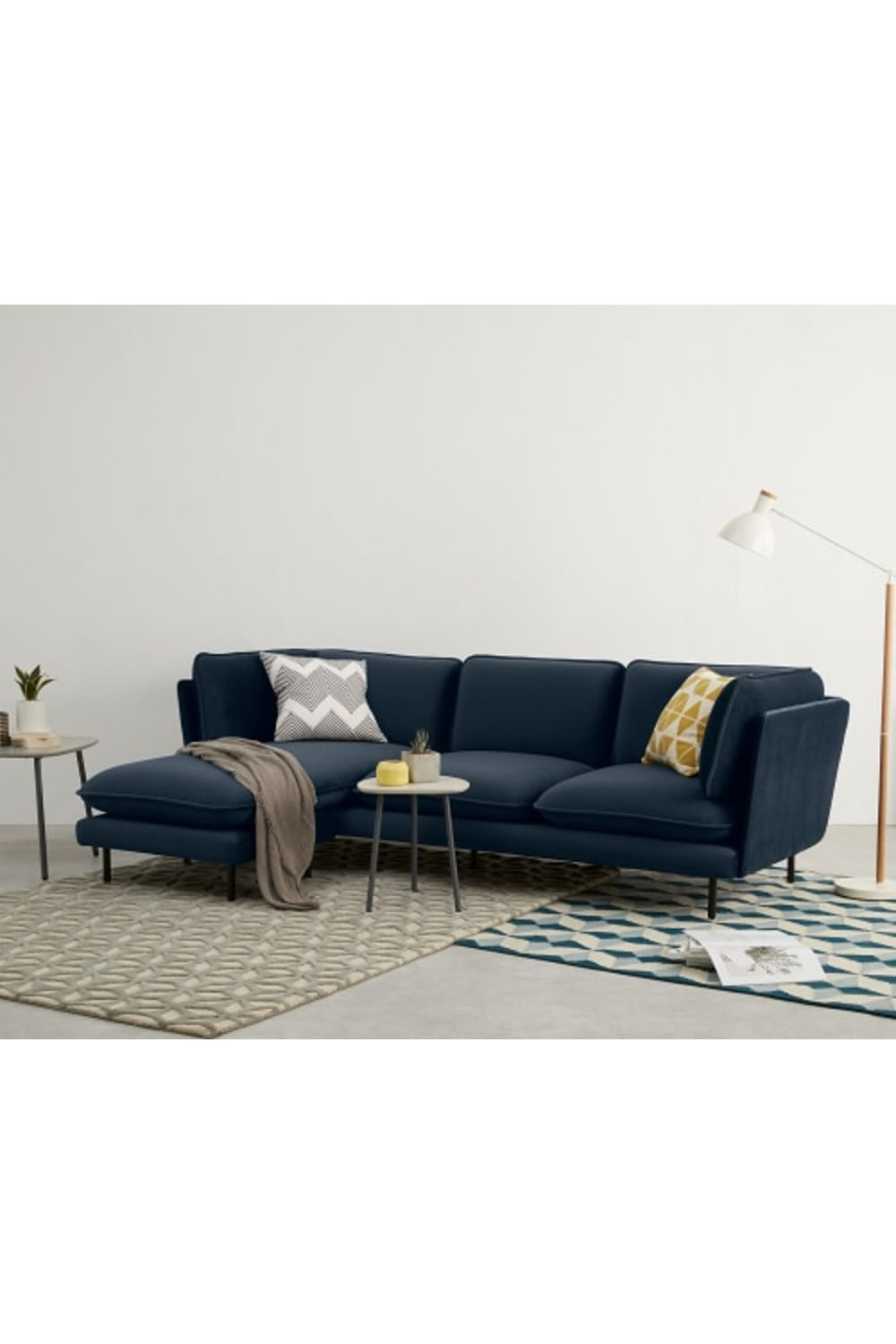 Wes 3 Seater Chaise End Corner Sofa Sapphire Blue Velvet Corner Sofa Blue Corner Sofas Sofa