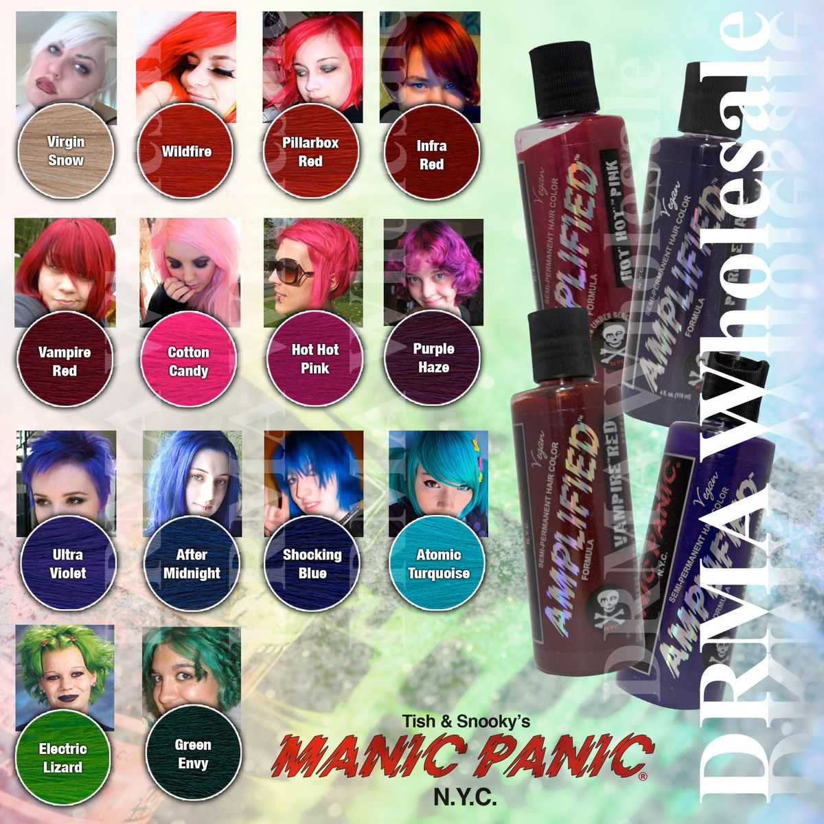 Manic Panic Hair Color Manic Panic Amplified Semi Permanent Vegan Hair Dye Color All Colors 4 Manic Panic Amplified Hair Dye Colors Vegan Hair Dye