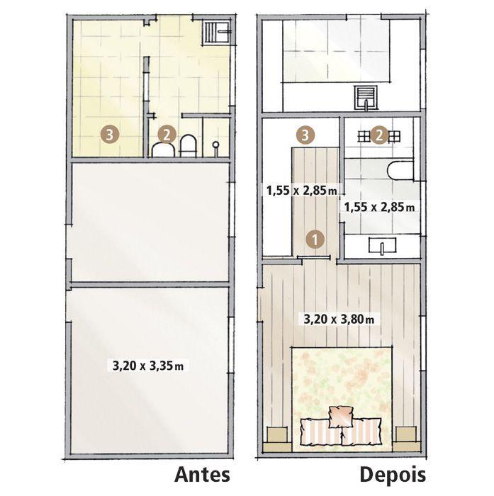 Conhecido reforma apartamento antigo sem suite ligar banheiro quarto  TD75
