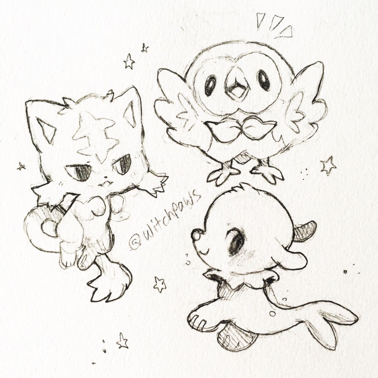 Pokemon coloring pages popplio - Litten Rowlet And Popplio