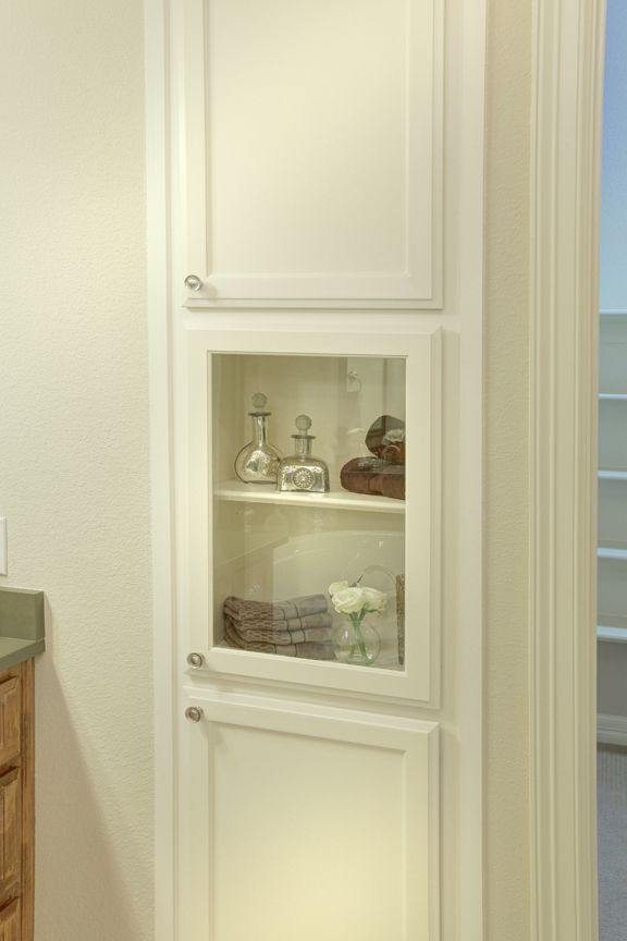 Lakeside DFW model home in Flower Mound, Texas - master bathroom cabinets in white